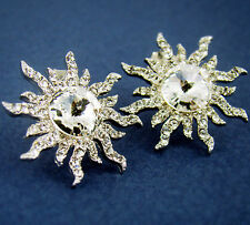 Women's Crystal Silver Plated Cool Large Sun Stud Earrings Nickel Free Gift Idea