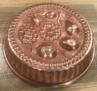 """ANTIQUE COPPER MOLD TIN LINED ~ PEAR, GRAPES & PEACH, OLIVES, DAISY 11"""" Round"""