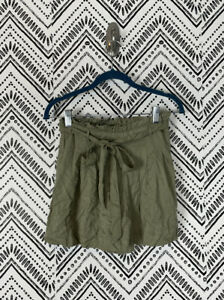 Nwt Women American Eagle AEO Solid Green Tie Waist High Waist Paperbag Shorts S