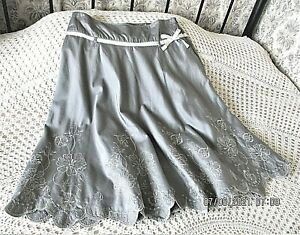 Grey with silver braid and floral embroidered cotton skirt by NEXT Size 14