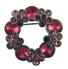 Brooch with crystals The Flower 2.9x2.9 cm pink #1022