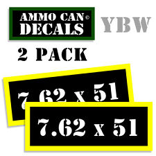 7.62 X 51 Ammo Label Decals Box Stickers decals - 2 Pack BLYW