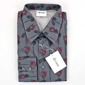 NWT BRIONI Storm Gray Red Rose Extrafine Cotton L/S Button Up Dress Shirt XS