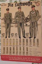WW2 Manifesto sulle unifori della Luftwaffe '40-45 a colori