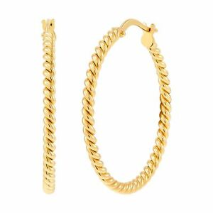 Italian-Made 30 mm Twisted Round Hoop Earrings in 18K Gold Plated Bronze