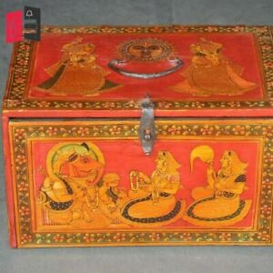 Wooden Hand Painted Mughal Art Chest Box Jewellery set  (MADE TO ORDER)