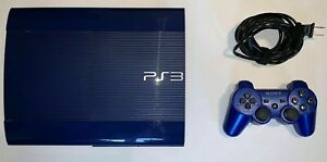 Sony PlayStation 3 PS3 Super Slim 250GB AZURITE BLUE CONSOLE + CONTROLLER HTF