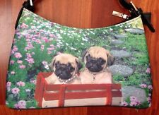 PUG Dog Puppies Bling Purse Shoulder Bag Red Wagon Field Of Flowers