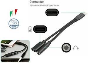 CAVO ADATTATORE TYPE C USB C CARICA JACK CUFFIE per Huawei Mate20 Pro P20 Pro
