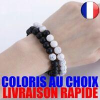 2 pcs Couple Distance Bracelet Pierre Naturelle Blanc et Noir Yin Yang Perlée