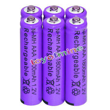 6x AAA battery batteries Bulk Nickel Hydride Rechargeable NI-MH 1800mAh 1.2V Pur