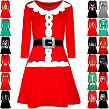 Womens Christmas Ladies Santa Claus Father Belted Costume Round Neck Swing Dress