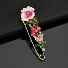 Flower Garden Brooch Large Safety Pin Lapel Floral Rose Pink Rhinestone Gold