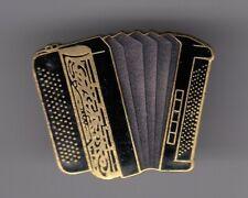 RARE PINS PIN'S .. MUSIQUE MUSIC INSTRUMENT ACCORDEON ACCORDION GOLD & BLACK ~EW