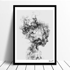 KE_ Modern Black White Girl Poster Canvas Wall Painting Pictures Home Decor Ey