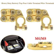 2×Heavy Duty Battery Top Post Cable Terminal Wire Terminals Pure Brass Universal