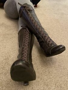 Clarks Brown Victorian Lace Up Leather Knee High Boots Size 8 Eur 42