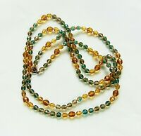 Vintage CZECH Topaz & Mixed Green Faceted Glass Bead Long Necklace - L44""