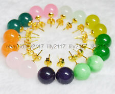 AAA 9 Pairs wholesale10 mm jewelry multicolor natural jade gold earrings
