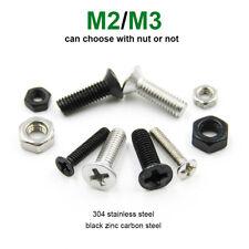 25/100pcs M2 M3 Phillips Cross Countersunk Flat Head Bolt Screw Nut 304 & Black