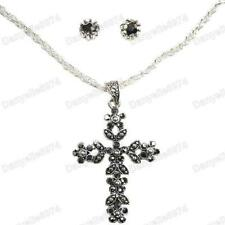 ORNATE CROSS pendant NECKLACE & EARRINGS SET vintage antique silver tone CHAIN