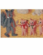 three little pigs and wolf toy dk knitting pattern 99p