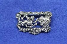 Estate Vintage Cupid Cherub and Heart Brooch/Pin- Sterling Silver 925