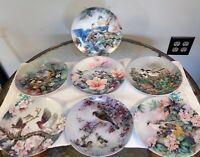 Nature's Poetry bird plates Song of Promise Lena Liu 7 piece lot Bluebird Hummer
