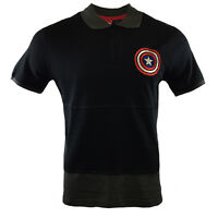 MARVEL CAPTAIN AMERICA Mens Polo Shirt Embroidered AVENGERS SHIELD Logo NWT NEW