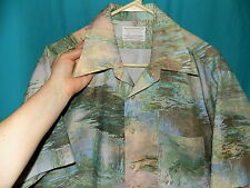 Exc! Vintage 70s Golden Arrow Disco Shirt, Short Slv, Watery Nature Graphics, L