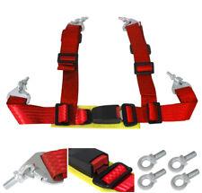 "Universal 4 Point Jdm 2"" Nylon Strap Harness Safety Chest Shoulder Seat Belt Red"
