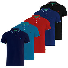 D555 DUKE MENS PIQUE POLO SHIRT CONTRAST TIPPING BLACK NAVY RED ROYAL (600233)
