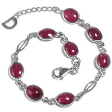 De Buman 12.38g Sterling Silver Natural Ruby Bracelet, 8.5 inches