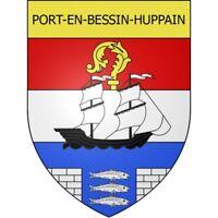Port-en-Bessin-Huppain 14 ville Stickers blason autocollant adhésif Taille:8 cm