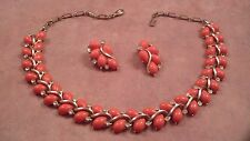 Signed Lisner Faux Coral Necklace and Earrings Set