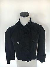 Dolce & Gabbana Black Ruffle Detail Cropped Jacket Coat Size Italian 38