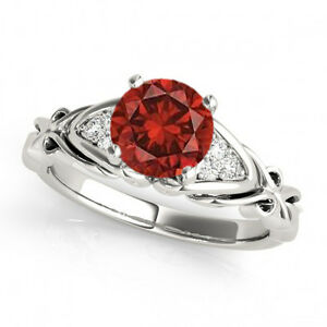 1.08 Ct Red Diamond I1 Solitaire Ring 14k White Gold Valentine Day Spl.Sale