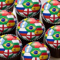 WORLD CUP FOOTBALL SOCCER BALLS EDIBLE CUPCAKE TOPPER WC2