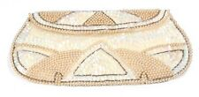 Vintage 1940's White & Gold Beaded Sequin Envelope Evening Cocktail Party Bag