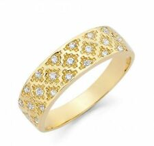 14k Solid Yellow Gold Diamante Pattern Band Ring with Manmade Diamonds