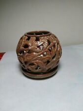 Partylite Tealight Holder Round Dome Globe Leaves Brown Ceramic