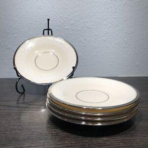"4 LENOX MOONSPUN PLATINUM EDGED 6"" SAUCERS Made In The USA"