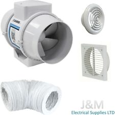 """Blauberg Turbo In-line Mixed Flow Extractor Fan With Timer 4"""" 100mm Bathroom Kit"""