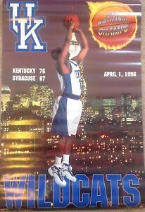 "UK Kentucky Wildcats 1996 NCAA Championship rare vintage 24""x36"" poster"