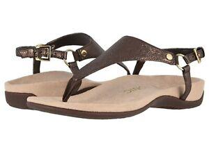 Vionic Orthaheel REST KIRRA Leather T Strap Sandals BRONZE METALLIC 11 Wide NIB