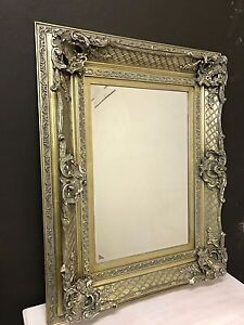 Large Wall Mirror / Silver Gold Mirror Ornate French Style 117 cm x 91 cm / New