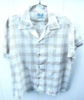 VTG  Mens Plaid Loop Collar Shirt Rockabilly Sz L White Gold SS Cotton Blend 60s