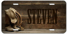 PERSONALIZED CUSTOM LICENSE PLATE WESTERN COWBOY BOOTS HAT AND ROPE  AUTO TAG
