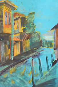 1999 EXPRESSIONIST CITYSCAPE PASTEL PAINTING SIGNED
