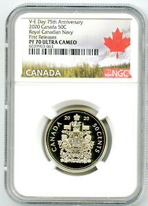 2020 CANADA 50 CENT V-E-DAY VE-DAY PROOF NGC PF70 HALF DOLLAR FIRST RELEASES